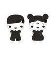 Vampire Girl And Boy Kids Black Lines Cartoon vector image