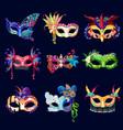 colorful ornate carnival masks set vector image