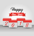 happy new year 2018 calendar numbers banner design vector image