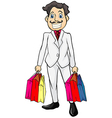 A smiling man with bags vector image