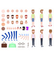 animated man constructor head with various emotion vector image vector image