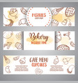 bakery horizontal banners with pastries sweet vector image vector image
