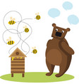 bear beekeeper with honey pot bees vector image vector image