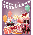 Birthday background with sticker presents balloons vector image vector image