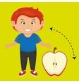 boy cartoon fruit sliced apple vector image vector image