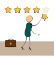 Cartoon businessman with rating stars vector image vector image