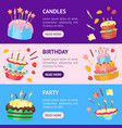 Cartoon color cakes banner horizontal set vector image