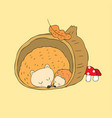 cartoon cute autumn hedgehogs sleeping vector image