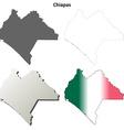 Chiapas blank outline map set vector image vector image