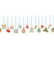 christmas gingerbread cookies garlands horizontal vector image