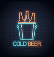 cold beer neon banner beer bottles neon sign on vector image vector image