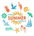 colorful summer icons vector image vector image