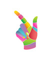 colourful abstract pop art hand pointing side vector image vector image