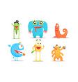 cute cartoon monsters characters set funny party vector image vector image