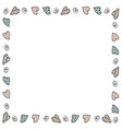 decorative frame of blue and pink hearts on vector image