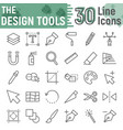 design tools line icon set graphic design signs vector image