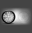detailed car wheel with a tire vector image vector image
