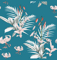exotic tropical palms and lilies flowers vector image vector image