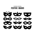 Festive carnival silhouettes mask set isolated vector image