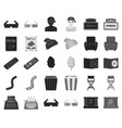 films and cinema blackmonochrome icons in set vector image vector image