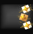 gift boxes with golden bow realistic dark vector image vector image