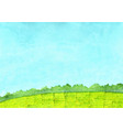 green grass meadow and tree with cloud sky vector image