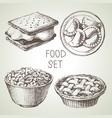 hand drawn food sketch set apple pie dessert vector image vector image