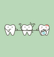 healthy teeth cleaning his friend by dental floss vector image vector image