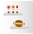 interiors with flowers and american football over vector image vector image
