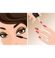 Make-up twice mascara and nail polish vector image