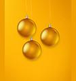 matte golden glass christmas baubles template vector image vector image