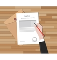 mou memorandum of understanding text on document vector image vector image