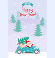 new year 2019 card with santa and pig in retro car vector image