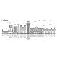 outline lisbon portugal city skyline with vector image