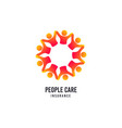 people care logo hospital insurance icon vector image