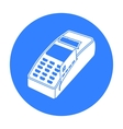 POS terminal icon in black style isolated on white vector image