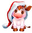 pretty white cow calf symbol 2021 new year vector image vector image