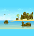 rocks sea landscape background in flat style vector image