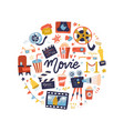 round shape print concept with flat movie design vector image vector image
