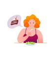 sad fat woman eats green salad vector image