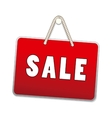Sale signs hanging with rope isolated on white vector image