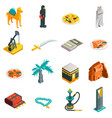 Saudi Arabia Isometric Touristic Icons Set vector image