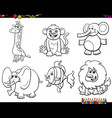 set animal characters coloring book vector image