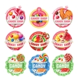 set lollipop logos stickers vector image