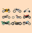 set motorcycle or motorbike bike or extreme vector image vector image