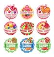 set of lollipop logos stickers vector image