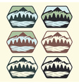 set of vintage labels with lakemountains and pines vector image