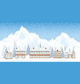 ski resort with mountains and house in the snowy vector image vector image