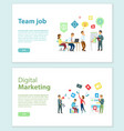 team job and digital marketing online web pages vector image vector image