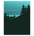 travel poster deer in the woods vector image vector image